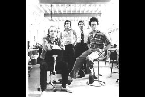 Rex Wilkinson, Nicholas Campbell, Roger Zogolovitch and Gough, the founding partners of CZWG, in 1978